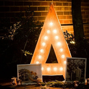 Marquee letter A with photos