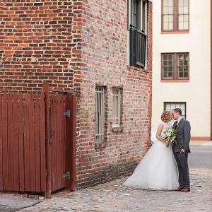 Bride and groom in urban setting