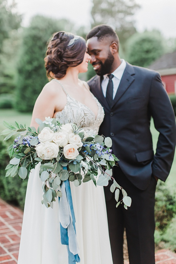 Coastal bride and groom