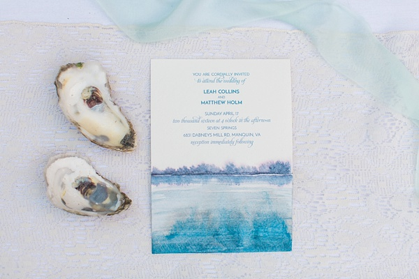 Oyster inspired wedding watercolor invitation