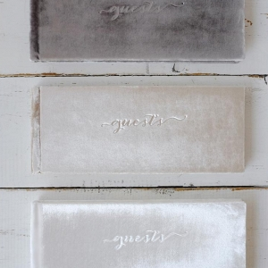 Gray White Champagne Colored Velvet Wedding Guest Books