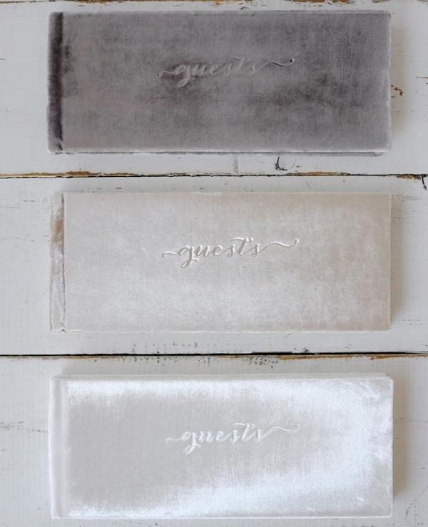 Gray White Champagne Colored Velvet Wedding Guest Books