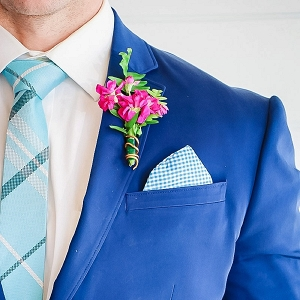 Bright blue groom suit