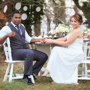 Vintage seaside bride and groom