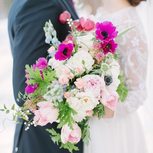 PInk and red wedding bouquet floral inspiration