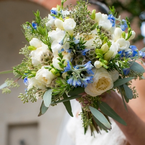 DC Bridal Bouquet of blue and white florals