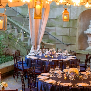 Tented wedding reception decor