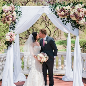 Floral and draping chuppah from jewish weddin ceremony in Maryland