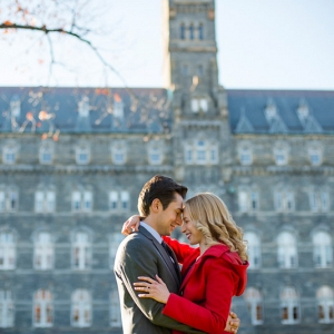 Fall Engagement Session with Bright Colored Attire
