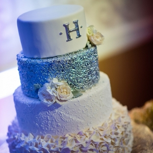 Monogram silver glitter wedding cake