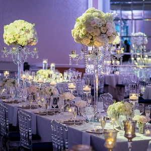 Fairmont DC Ballroom wedding all white wedding centerpiece