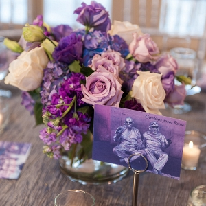 Purple vintage postcard table number cards