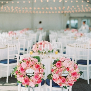 flower wreath bride and groom chairs