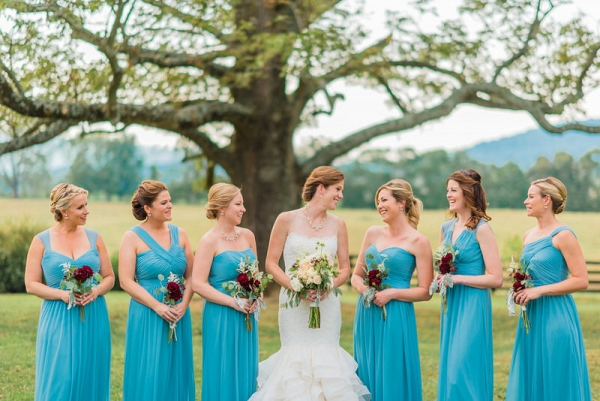 bridesmaid dresses and rustic bouquet