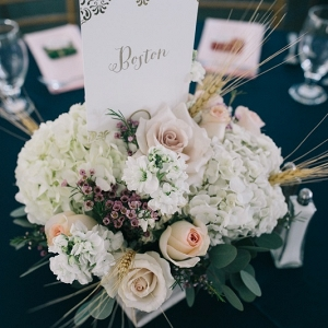 Floral low compact centerpiece with table numbers