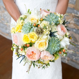 Succulent and Garden rose pink and mint brides bouquet