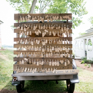 Rustic farm wedding escort card display