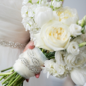 ruffled white Amanda Veronee bridal bouquet
