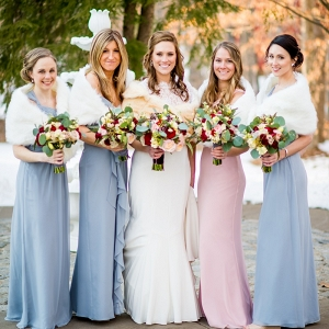 Pastel Winter Bridesmaid Dresses with Fur Accessories