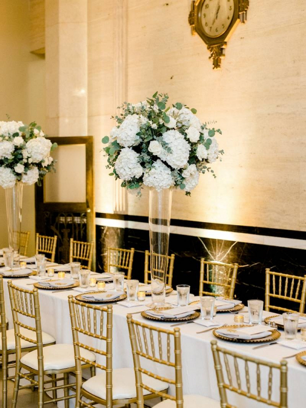 Classic white and gold wedding reception