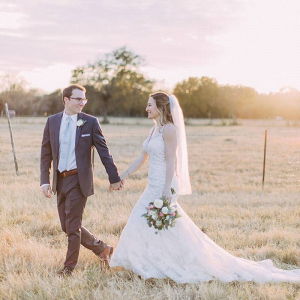 Texas farm wedding couple portrait