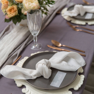 Gray wedding tablescape