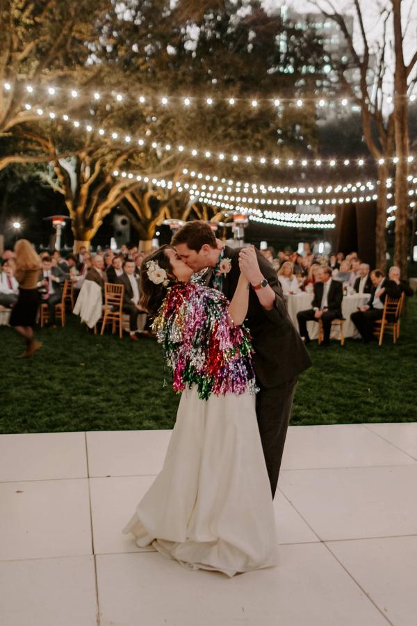 Bride with colorful fringe shrug