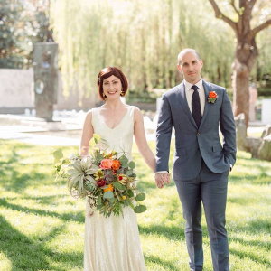 Dallas wedding couple at garden wedding