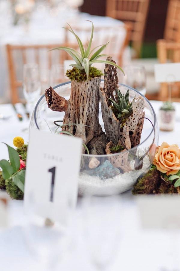 Terrarium wedding centerpieces with succulents