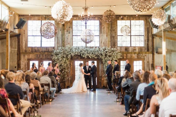 Rustic Texas barn wedding ceremony