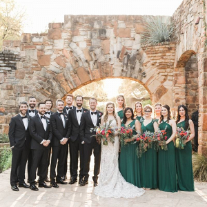 Bridal party in long green gowns