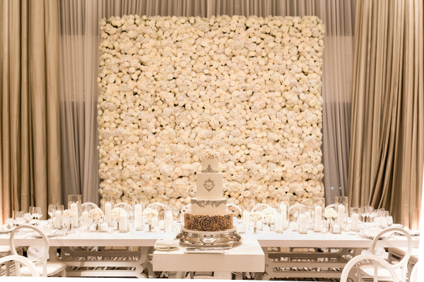 Luxe wedding reception at The Langham Chicago with white rose floral backdrop