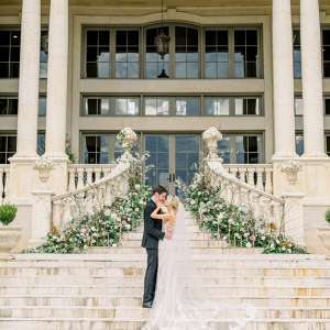 Romantic chateau wedding portrait
