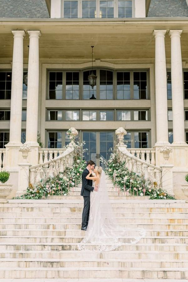 Romantic chateau wedding portrait