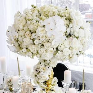 Tall White Wedding Centerpiece in Gold Vase