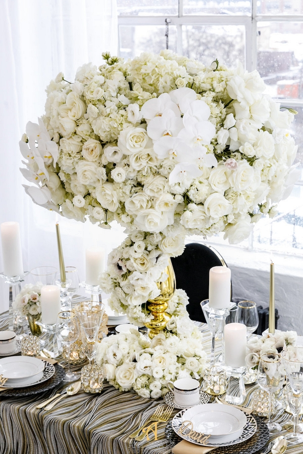 Tall White Wedding Centerpiece in Gold Vase
