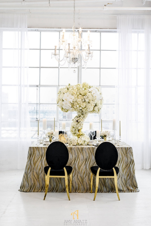 Black White and Gold Wedding Decor