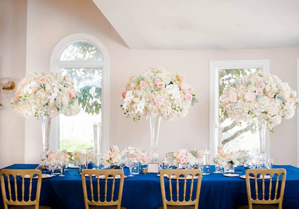 Blue and blush reception decor