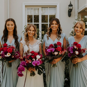 Draped blue bridesmaid dresses