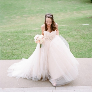 blush ball gown by Lazaro