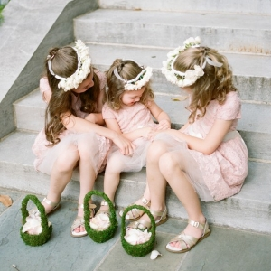 flower girls with moss covered flower girl basket