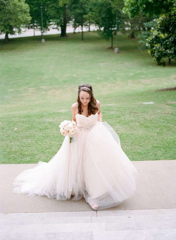 blush ball gown by Lazaro