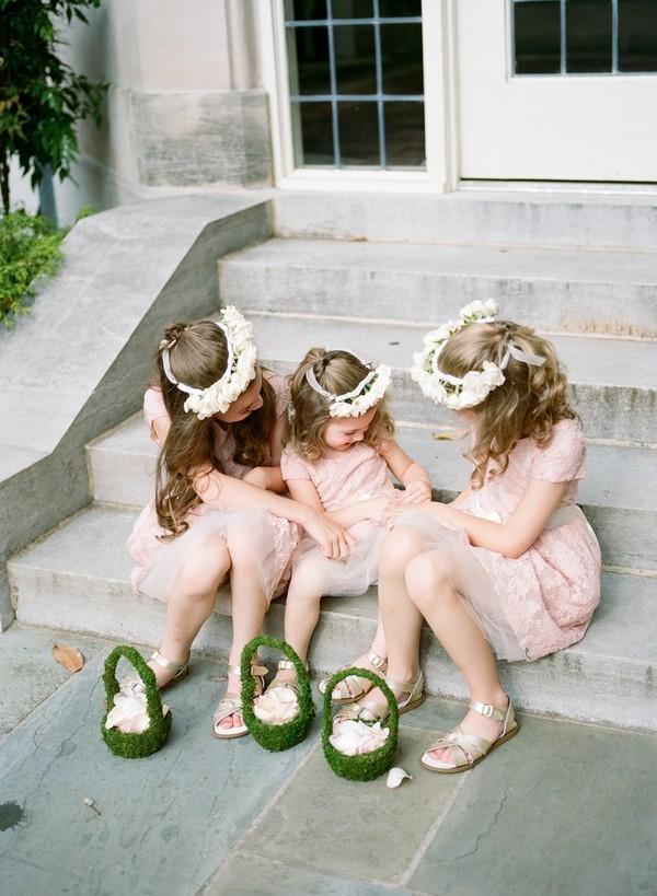flower girls with moss covered flower girl basket