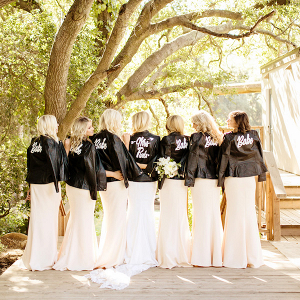 Bridal party in leather jackets