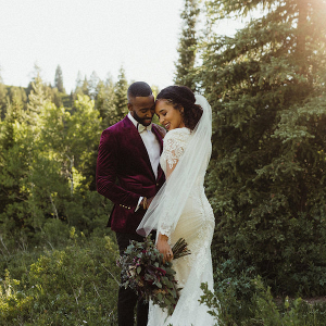 Chic mountain bride and groom
