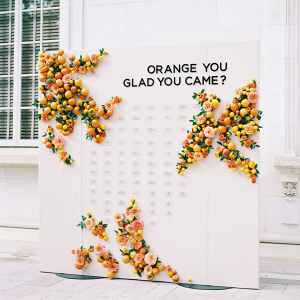 Citrus themed escort card display