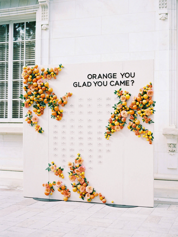 Citrus themed escort card display