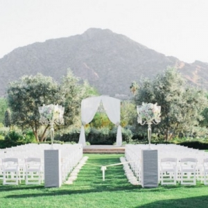 Outdoor Ceremony Classic Blush Arizona Wedding
