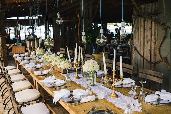 Farm table reception area
