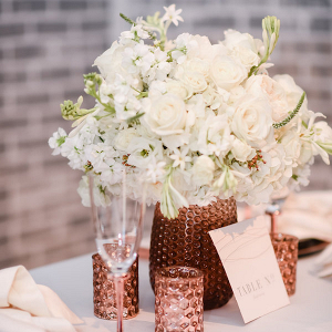 Copper and cream centerpiece